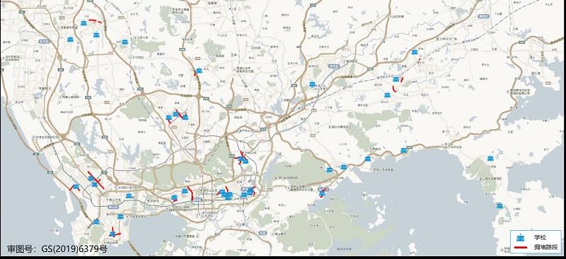 图 6 开学第一天(2月22日)早高峰全市各辖区学校周边易堵路段分布预测.jpg