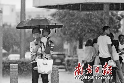 8月4日,雨中的深圳坪山区街头。南方日报记者 朱洪波 摄.jpg